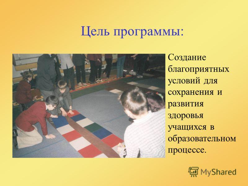 Цель программы: Создание благоприятных условий для сохранения и развития здоровья учащихся в образовательном процессе.