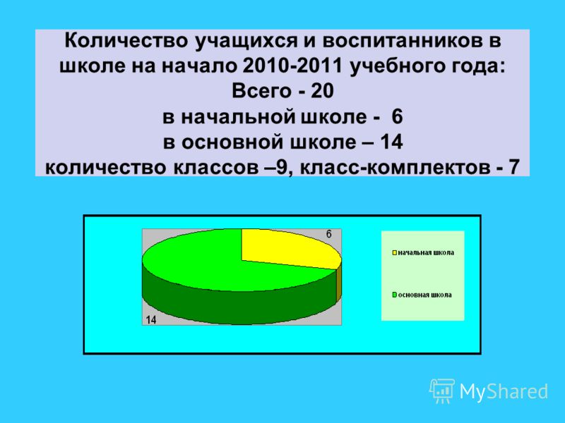 Количество учащихся и воспитанников в школе на начало 2010-2011 учебного года: Всего - 20 в начальной школе - 6 в основной школе – 14 количество классов –9, класс-комплектов - 7