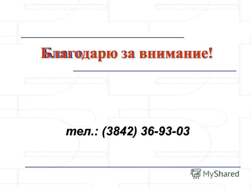 тел.: (3842) 36-93-03 Благодарю за внимание!