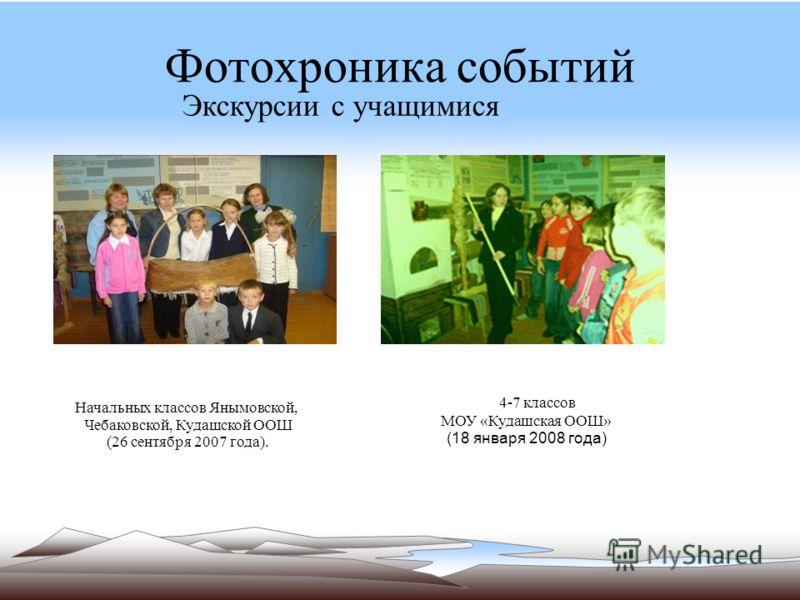 Фотохроника событий 4-7 классов МОУ «Кудашская ООШ» (18 января 2008 года) Экскурсии с учащимися Начальных классов Янымовской, Чебаковской, Кудашской ООШ (26 сентября 2007 года).