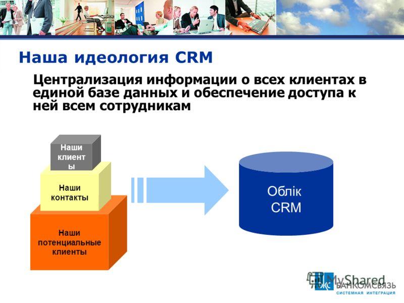 Наша идеология CRM Наши потенциальные клиенты Наши контакты Наши клиент ы Облiк CRM Централизация информации о всех клиентах в единой базе данных и обеспечение доступа к ней всем сотрудникам