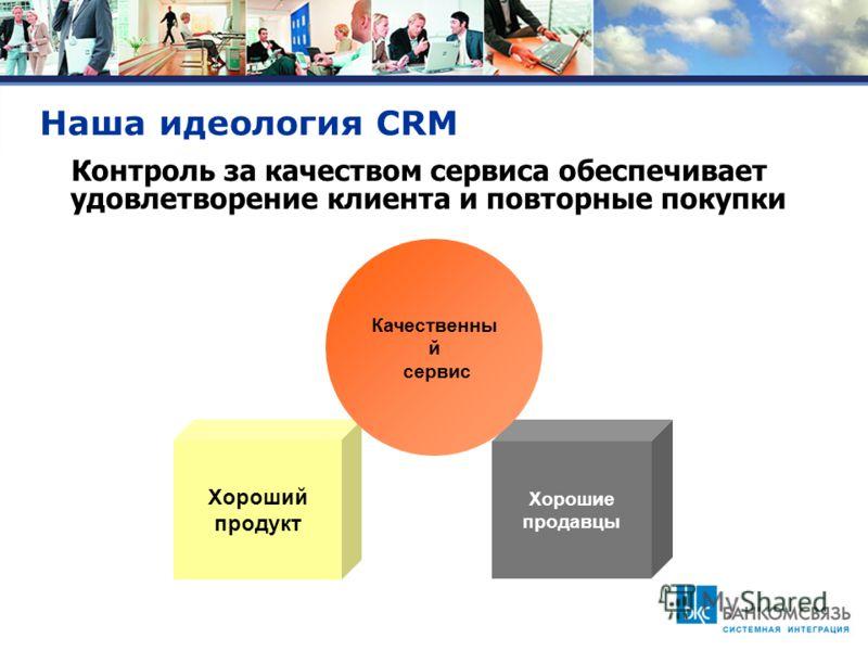 Наша идеология CRM Хорошие продавцы Хороший продукт Качественны й сервис Контроль за качеством сервиса обеспечивает удовлетворение клиента и повторные покупки