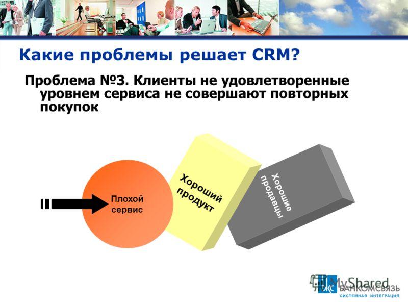Какие проблемы решает CRM? Проблема 3. Клиенты не удовлетворенные уровнем сервиса не совершают повторных покупок Хорошие продавцы Хороший продукт Плохой сервис