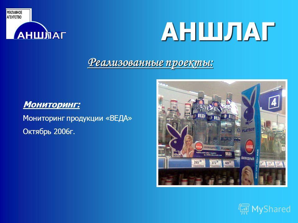 АНШЛАГ Реализованные проекты: АНШЛАГ Мониторинг: Мониторинг продукции «ВЕДА» Октябрь 2006г.