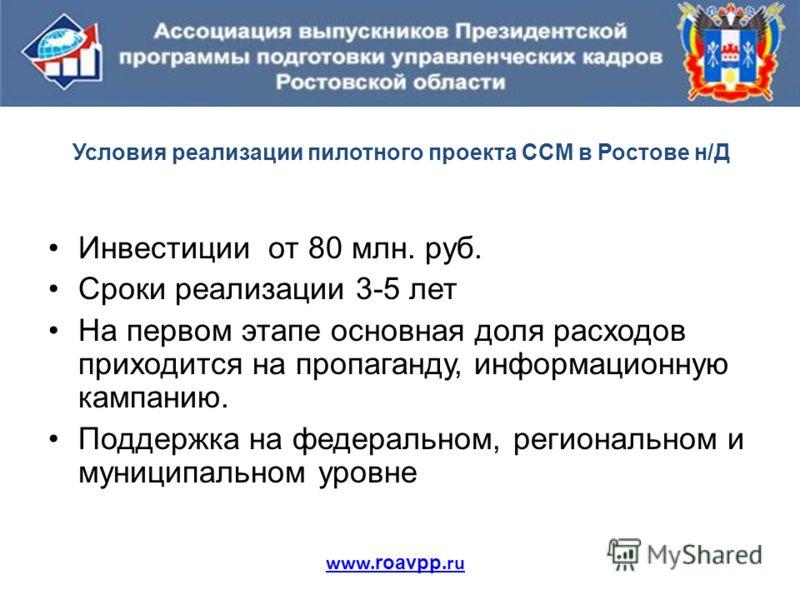 Условия реализации пилотного проекта ССМ в Ростове н/Д Инвестиции от 80 млн. руб. Сроки реализации 3-5 лет На первом этапе основная доля расходов приходится на пропаганду, информационную кампанию. Поддержка на федеральном, региональном и муниципально