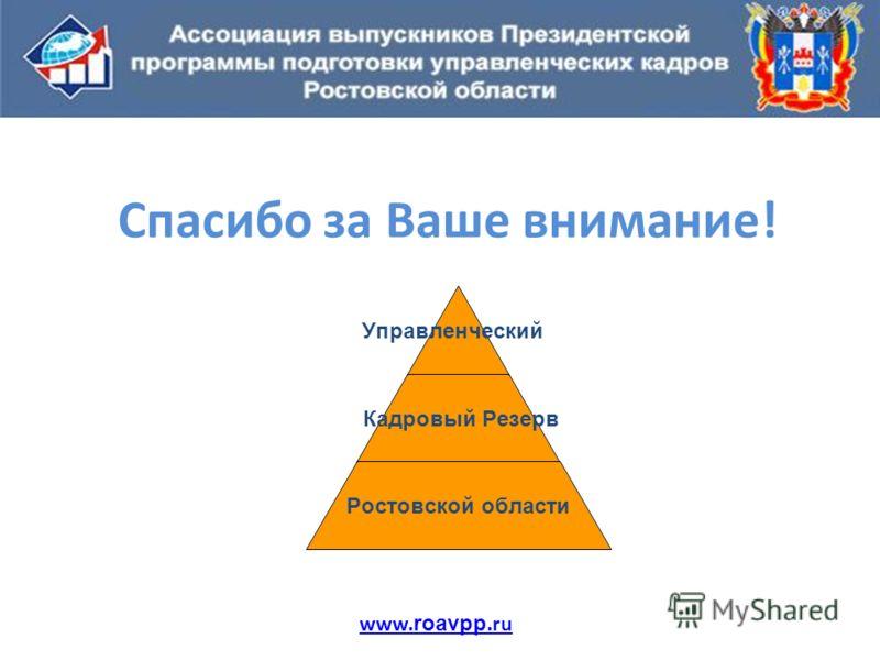 Спасибо за Ваше внимание! www. roavpp.ru Управленческий Кадровый Резерв Ростовской области
