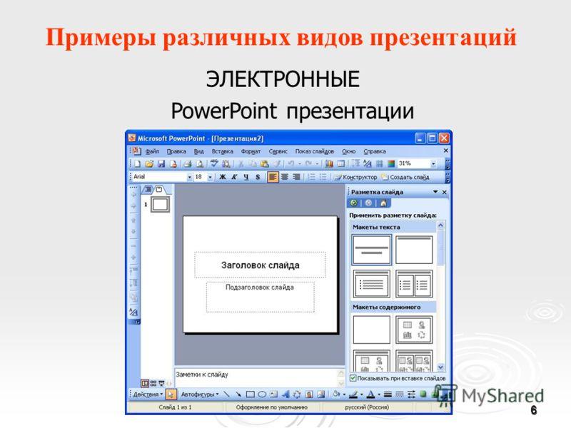 6 Примеры различных видов презентаций ЭЛЕКТРОННЫЕ PowerPoint презентации