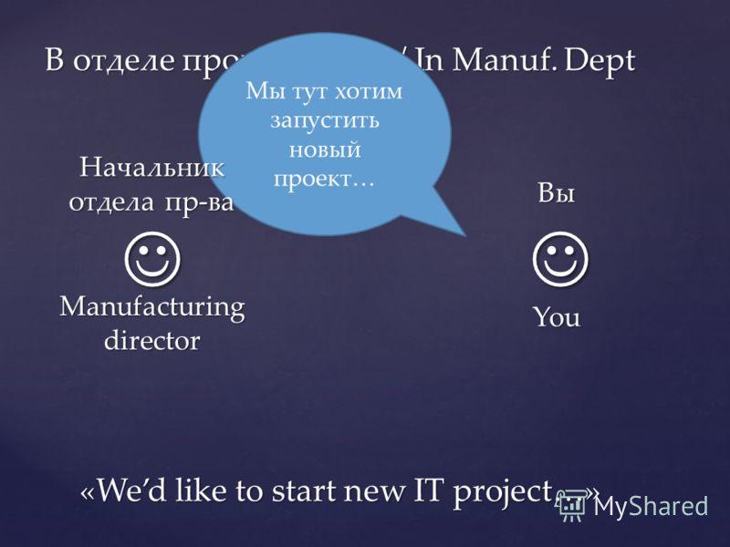 В отделе производства / In Manuf. Dept Мы тут хотим запустить новый проект… «Wed like to start new IT project…» Вы You Начальник отдела пр-ва Manufacturing director