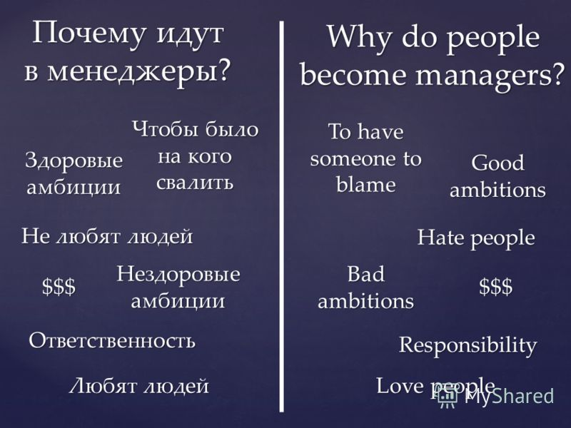 Why do people become managers? Здоровые амбиции Good ambitions Нездоровые амбиции Bad ambitions Любят людей Love people Не любят людей Hate people $$$ $$$ Ответственность Responsibility Чтобы было на кого свалить To have someone to blame