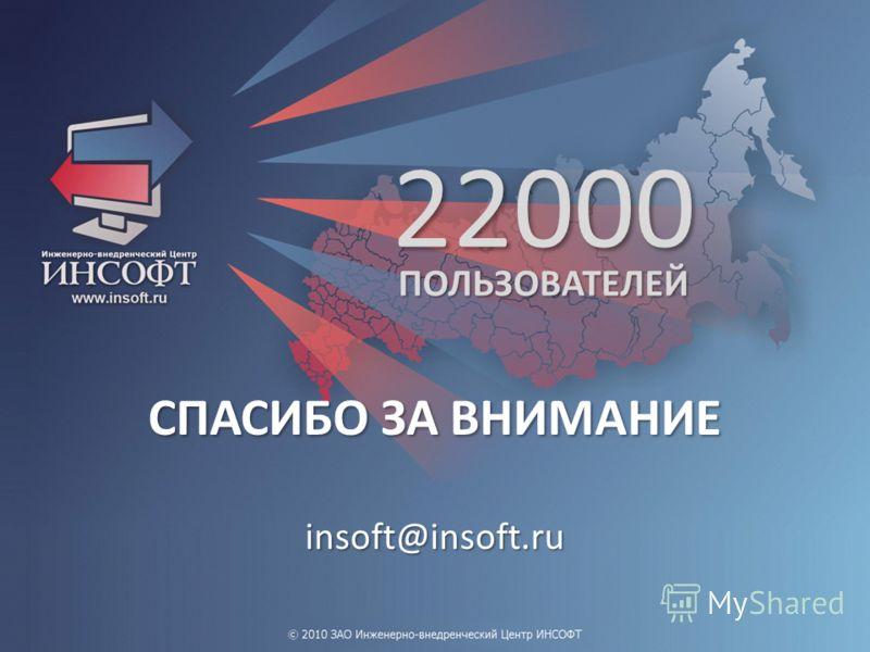 22000 ПОЛЬЗОВАТЕЛЕЙ СПАСИБО ЗА ВНИМАНИЕ insoft@insoft.ru