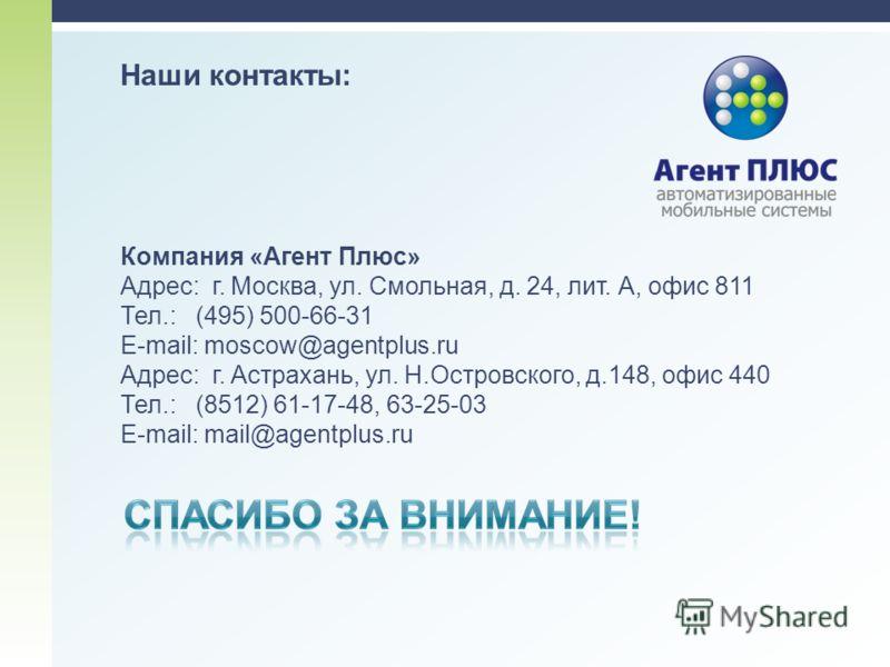Наши контакты: Компания «Агент Плюс» Адрес: г. Москва, ул. Смольная, д. 24, лит. А, офис 811 Тел.: (495) 500-66-31 E-mail: moscow@agentplus.ru Адрес: г. Астрахань, ул. Н.Островского, д.148, офис 440 Тел.: (8512) 61-17-48, 63-25-03 E-mail: mail@agentp