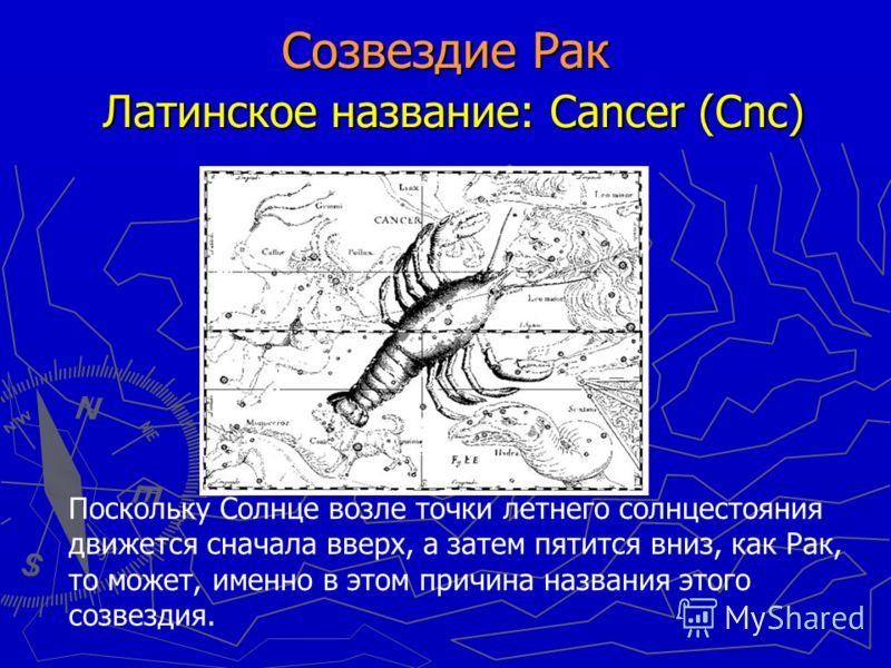 Созвездие Рак Латинское название: Cancer (Cnc) Поскольку Солнце возле точки летнего солнцестояния движется сначала вверх, а затем пятится вниз, как Рак, то может, именно в этом причина названия этого созвездия.