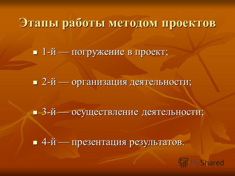 Этапы работы методом проектов 1-й погружение в проект; 1-й погружение в проект; 2-й организация деятельности; 2-й организация деятельности; 3-й осущес