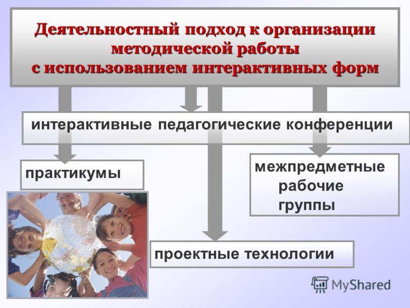практикумы межпредметные рабочие группы проектные технологии интерактивные педагогические конференции Деятельностный подход к организации методической работы с использованием интерактивных форм