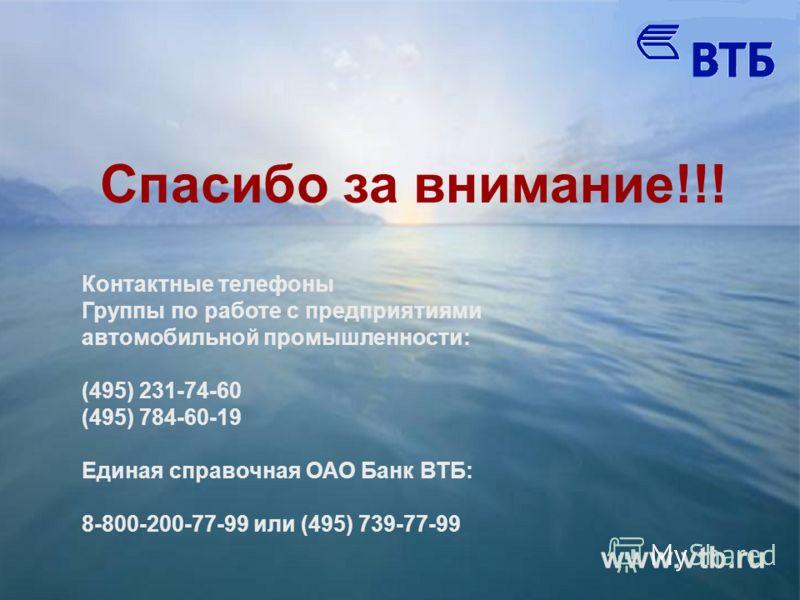 Спасибо за внимание!!! www.vtb.ru Контактные телефоны Группы по работе с предприятиями автомобильной промышленности: (495) 231-74-60 (495) 784-60-19 Единая справочная ОАО Банк ВТБ: 8-800-200-77-99 или (495) 739-77-99