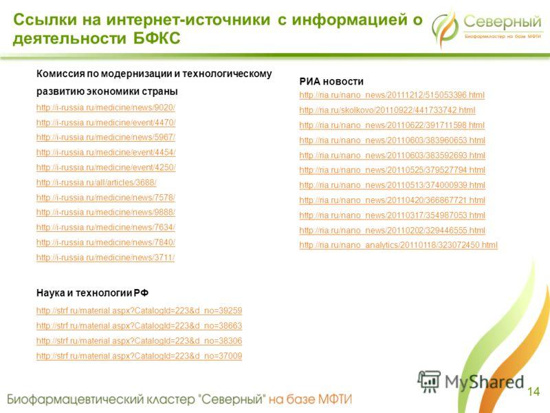 14 РИА новости http://ria.ru/nano_news/20111212/515053396.html http://ria.ru/skolkovo/20110922/441733742.html http://ria.ru/nano_news/20110622/391711598.html http://ria.ru/nano_news/20110603/383960653.html http://ria.ru/nano_news/20110603/383592693.h