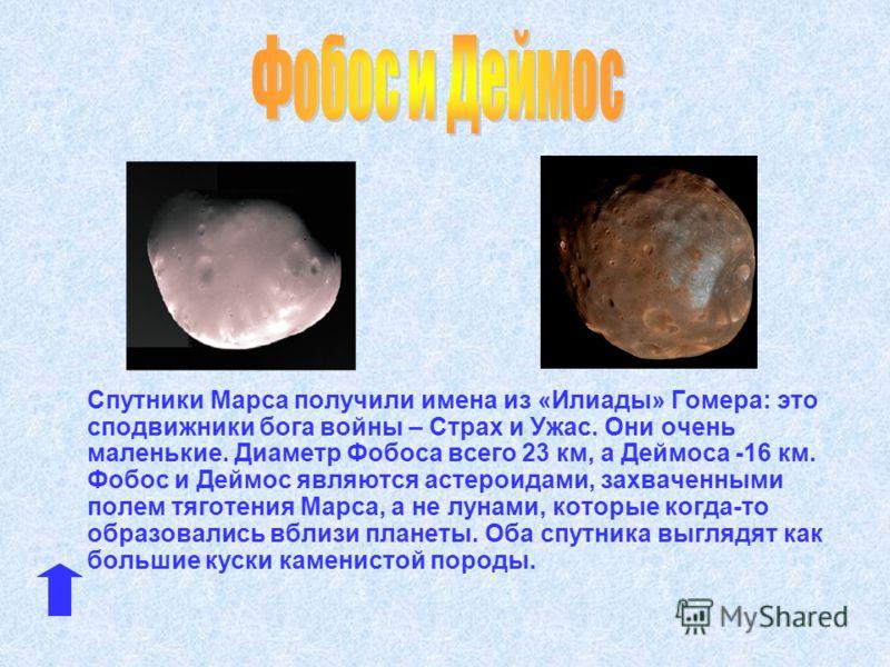 Спутники Марса получили имена из «Илиады» Гомера: это сподвижники бога войны – Страх и Ужас. Они очень маленькие. Диаметр Фобоса всего 23 км, а Деймоса -16 км. Фобос и Деймос являются астероидами, захваченными полем тяготения Марса, а не лунами, кото