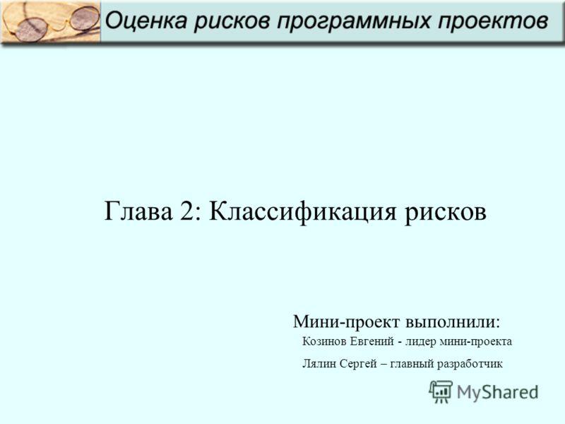 Глава 2: Классификация рисков Козинов Евгений - лидер мини-проекта Лялин Сергей – главный разработчик Мини-проект выполнили: