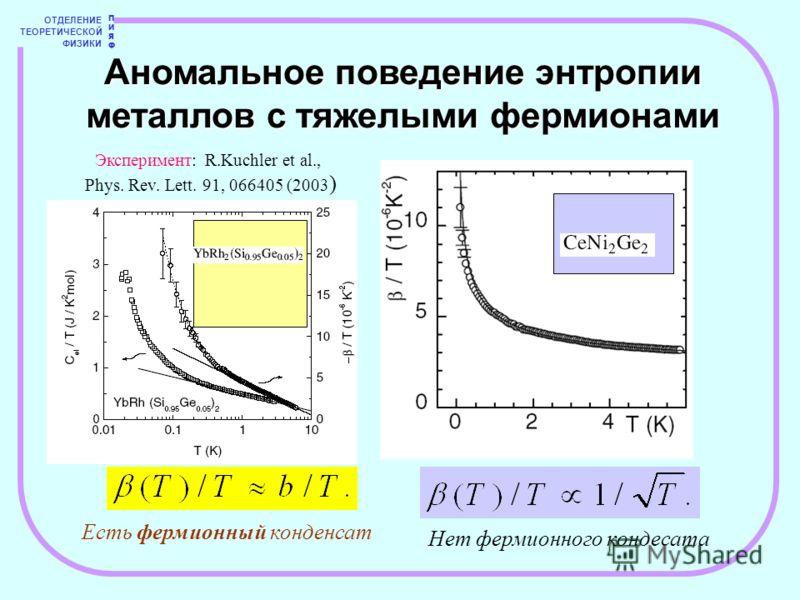 ОТДЕЛЕНИЕ ТЕОРЕТИЧЕСКОЙ ФИЗИКИ ПИЯФПИЯФ Аномальное поведение энтропии металлов с тяжелыми фермионами Эксперимент: R.Kuchler et al., Phys. Rev. Lett. 91, 066405 (2003 ) Есть фермионный конденсат Нет фермионного кондесата