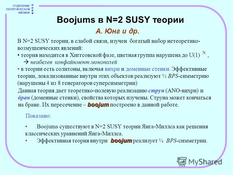 ОТДЕЛЕНИЕ ТЕОРЕТИЧЕСКОЙ ФИЗИКИ ПИЯФПИЯФ Boojums в N=2 SUSY теории А. Юнг и др. В N=2 SUSY теории, в слабой связи, изучен богатый набор нетеоретико- возмущенческих явлений: теория находится в Хиггсовской фазе, цветная группа нарушена до U(1), неабелев