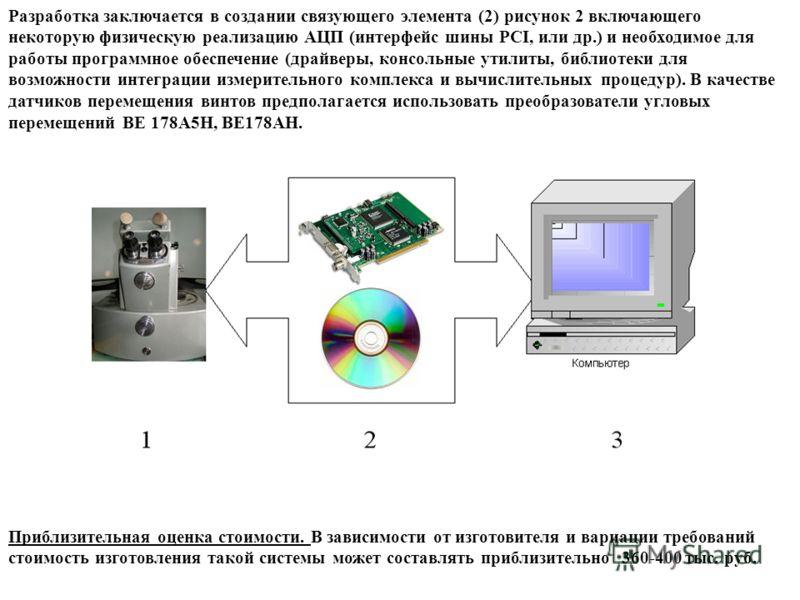 Разработка заключается в создании связующего элемента (2) рисунок 2 включающего некоторую физическую реализацию АЦП (интерфейс шины PCI, или др.) и необходимое для работы программное обеспечение (драйверы, консольные утилиты, библиотеки для возможнос