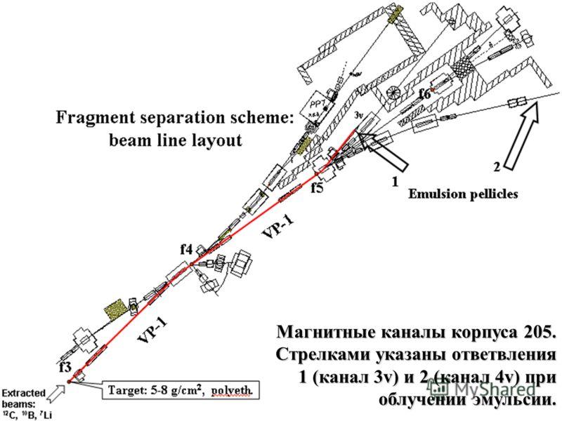 Магнитные каналы корпуса 205. Стрелками указаны ответвления 1 (канал 3v) и 2 (канал 4v) при облучении эмульсии.