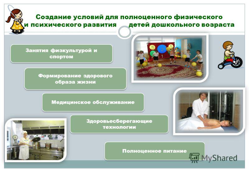 Занятия физкультурой и спортом Формирование здорового образа жизни Медицинское обслуживание Здоровьесберегающие технологии Полноценное питание Создание условий для полноценного физического и психического развития детей дошкольного возраста
