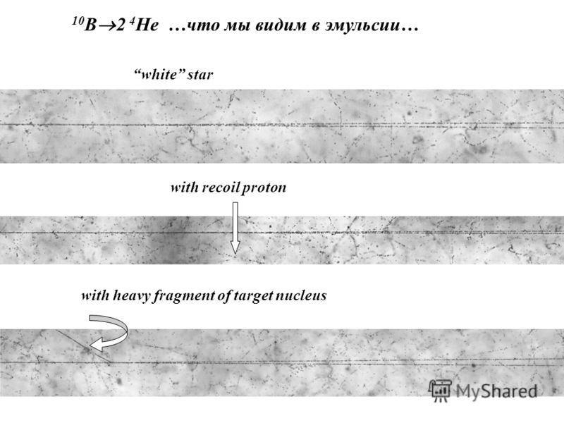 10 B 2 4 He …что мы видим в эмульсии… white star with recoil proton with heavy fragment of target nucleus