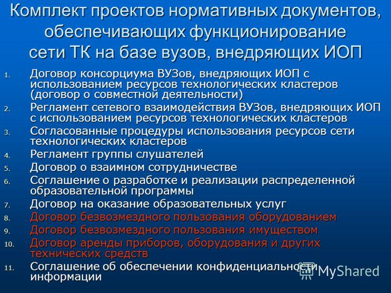 Комплект проектов нормативных документов, обеспечивающих функционирование сети ТК на базе вузов, внедряющих ИОП 1. Договор консорциума ВУЗов, внедряющих ИОП с использованием ресурсов технологических кластеров (договор о совместной деятельности) 2. Ре