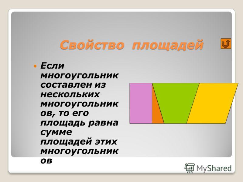 Свойство площадей Если многоугольник составлен из нескольких многоугольник ов, то его площадь равна сумме площадей этих многоугольник ов