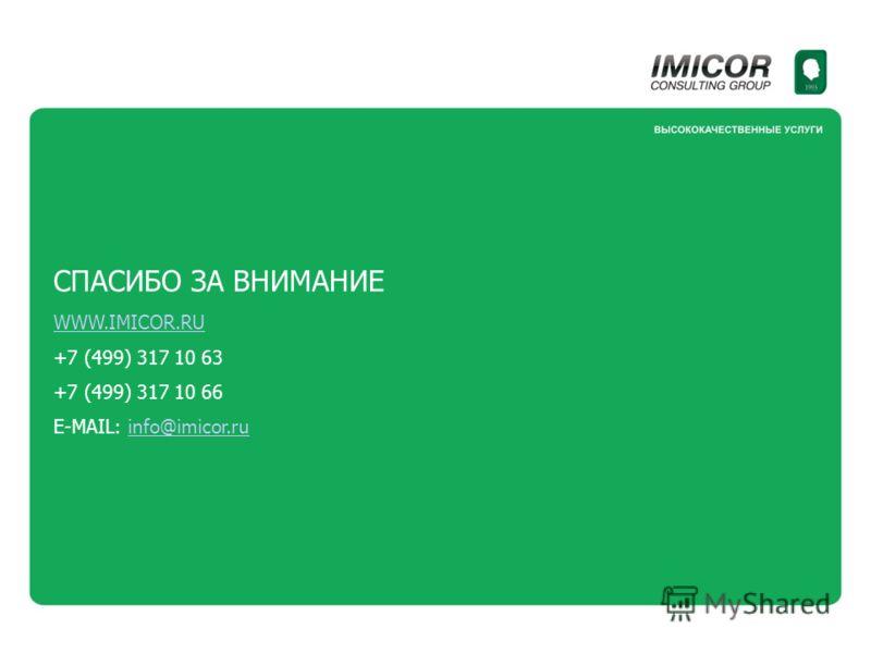 СПАСИБО ЗА ВНИМАНИЕ WWW.IMICOR.RU +7 (499) 317 10 63 +7 (499) 317 10 66 E-MAIL: info@imicor.ruinfo@imicor.ru