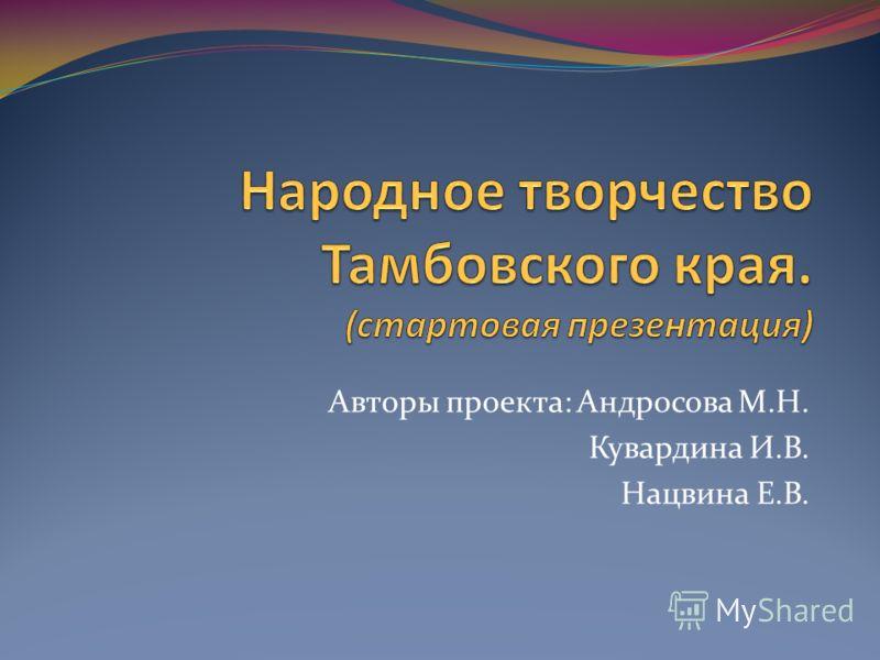 Авторы проекта: Андросова М.Н. Кувардина И.В. Нацвина Е.В.