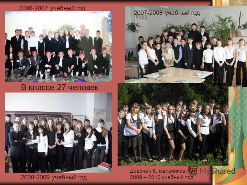 В классе 27 человек Девочек-8, мальчиков-19 2009 – 2010 учебный год 2006-2007 учебный год 2007-2008 учебный год 2008-2009 учебный год