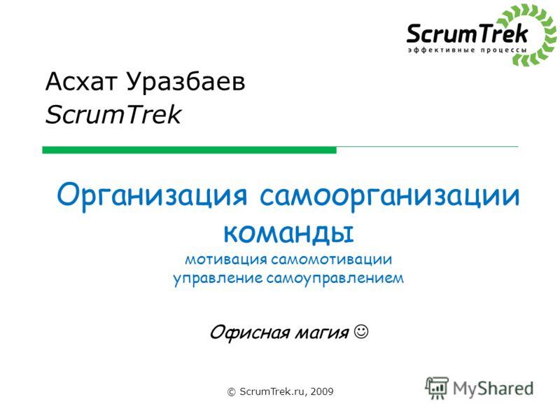 Организация самоорганизации команды мотивация самомотивации управление самоуправлением Офисная магия Асхат Уразбаев ScrumTrek © ScrumTrek.ru, 2009
