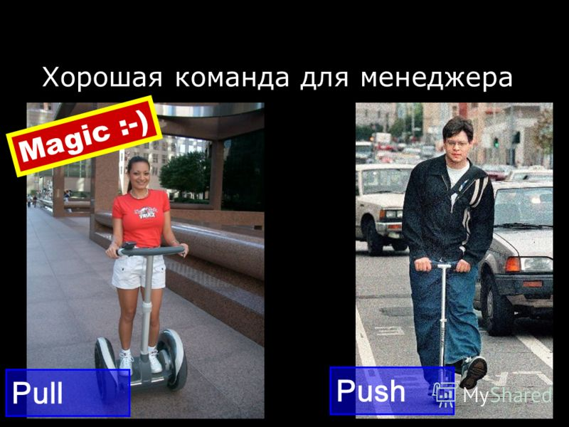 Хорошая команда для менеджера Push Pull Magic :-)
