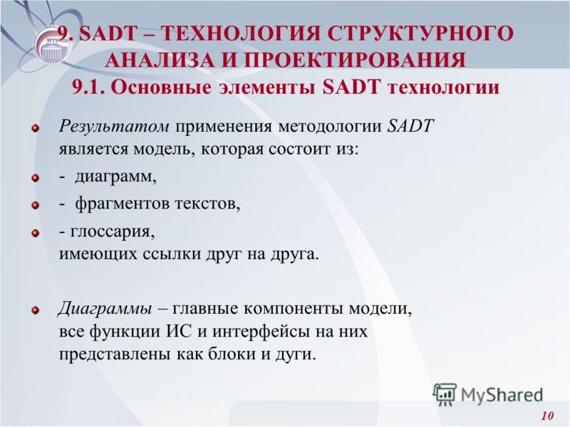 10 Результатом применения методологии SADT является модель, которая состоит из: - диаграмм, - фрагментов текстов, - глоссария, имеющих ссылки друг на друга. Диаграммы – главные компоненты модели, все функции ИС и интерфейсы на них представлены как бл