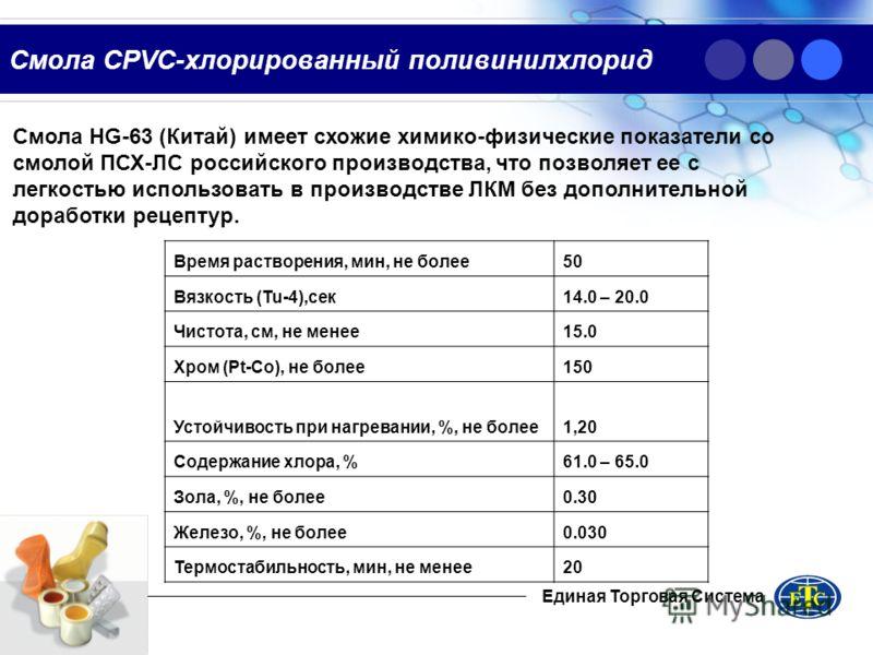 Смола CPVC-хлорированный поливинилхлорид Смола HG-63 (Китай) имеет схожие химико-физические показатели со смолой ПСХ-ЛС российского производства, что позволяет ее с легкостью использовать в производстве ЛКМ без дополнительной доработки рецептур. Един
