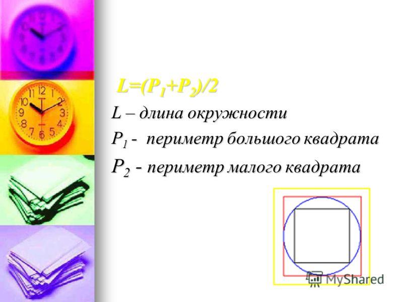 L=(Р 1 +Р 2 )/2 L=(Р 1 +Р 2 )/2 L – длина окружности Р 1 - периметр большого квадрата Р 2 - периметр малого квадрата