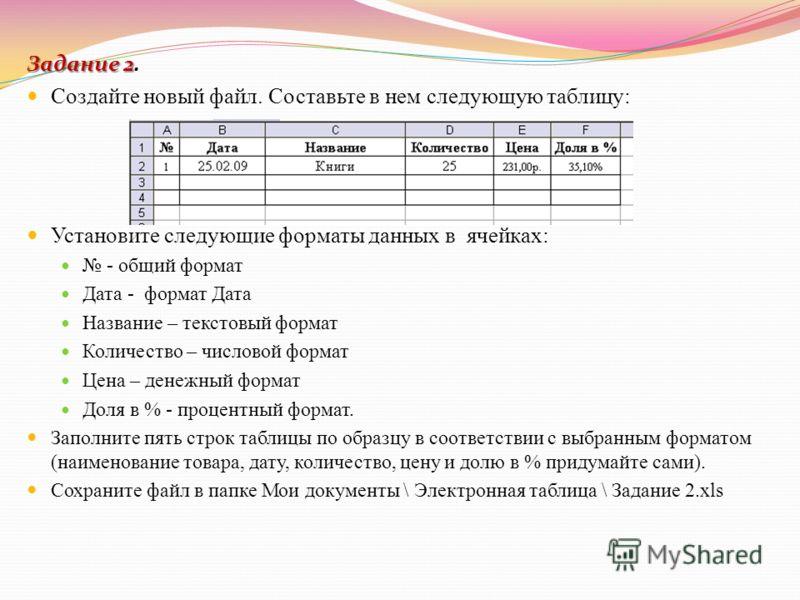 Задание 2 Задание 2. Создайте новый файл. Составьте в нем следующую таблицу: Установите следующие форматы данных в ячейках: - общий формат Дата - формат Дата Название – текстовый формат Количество – числовой формат Цена – денежный формат Доля в % - п