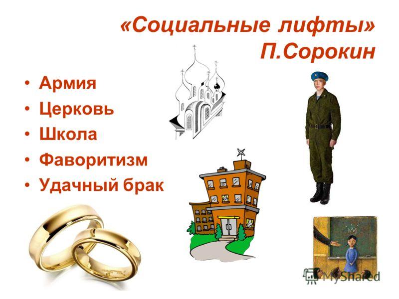 «Социальные лифты» П.Сорокин Армия Церковь Школа Фаворитизм Удачный брак