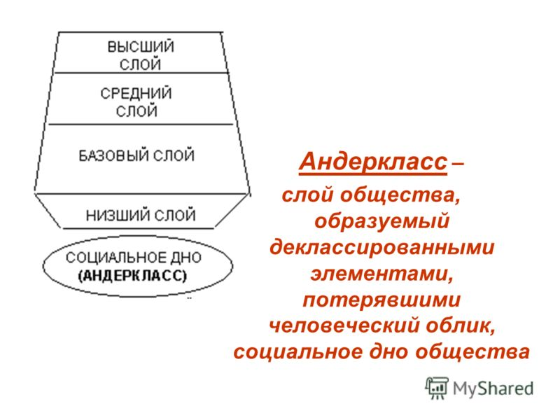 Андеркласс – слой общества, образуемый деклассированными элементами, потерявшими человеческий облик, социальное дно общества