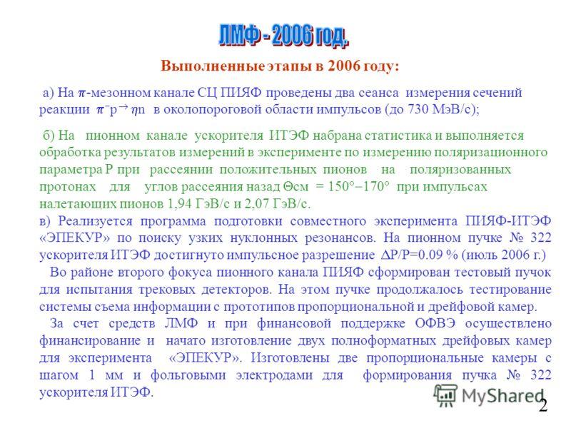 2 Выполненные этапы в 2006 году: а) На -мезонном канале СЦ ПИЯФ проведены два сеанса измерения сечений реакции р n в околопороговой области импульсов (до 730 МэВ/с); б) На пионном канале ускорителя ИТЭФ набрана статистика и выполняется обработка резу
