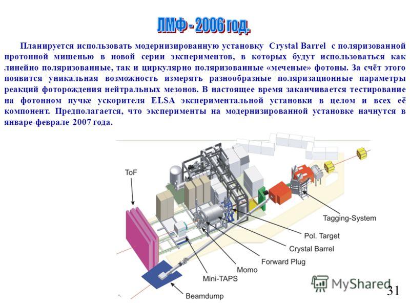 31 Планируется использовать модернизированную установку Crystal Barrel с поляризованной протонной мишенью в новой серии экспериментов, в которых будут использоваться как линейно поляризованные, так и циркулярно поляризованные «меченые» фотоны. За счё