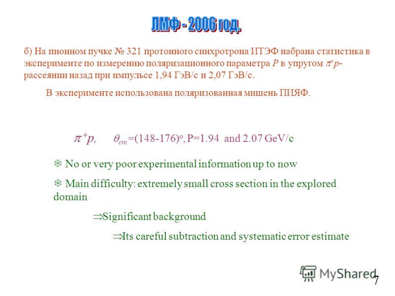 7 б) На пионном пучке 321 протонного синхротрона ИТЭФ набрана статистика в эксперименте по измерению поляризационного параметра Р в упругом + p- рассеянии назад при импульсе 1,94 ГэВ/с и 2,07 ГэВ/с. В эксперименте использована поляризованная мишень П