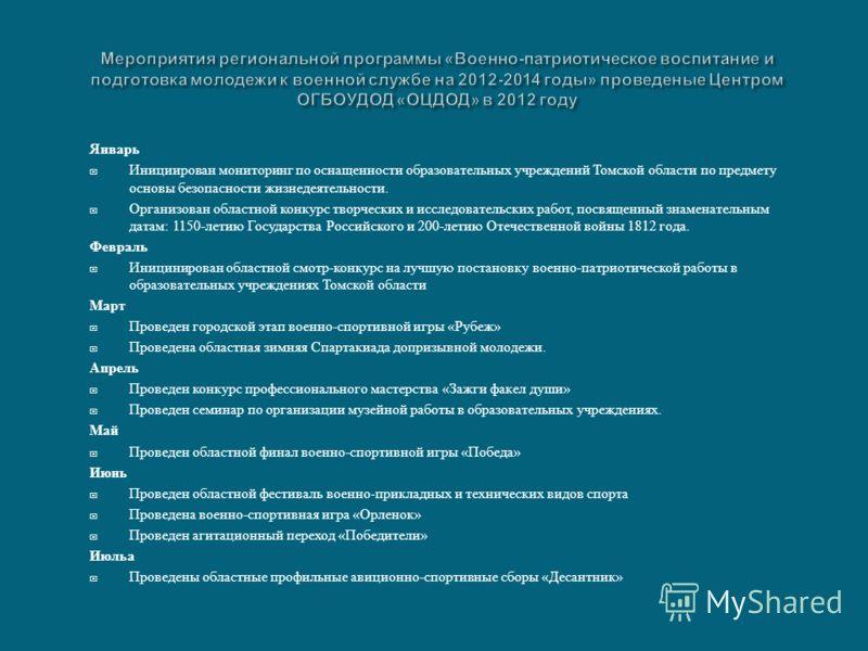 Январь Инициирован мониторинг по оснащенности образовательных учреждений Томской области по предмету основы безопасности жизнедеятельности. Организован областной конкурс творческих и исследовательских работ, посвященный знаменательным датам : 1150- л