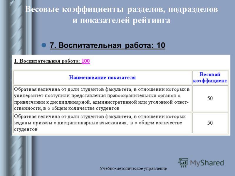 Учебно-методическое управление Весовые коэффициенты разделов, подразделов и показателей рейтинга 7. Воспитательная работа: 10