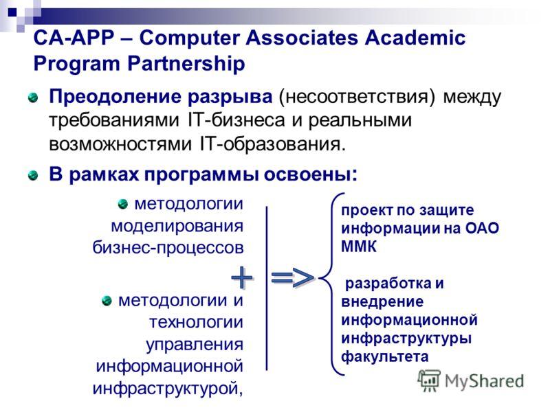 CA-APP – Computer Associates Academic Program Partnership Преодоление разрыва (несоответствия) между требованиями IT-бизнеса и реальными возможностями IT-образования. В рамках программы освоены : методологии моделирования бизнес-процессов методологии