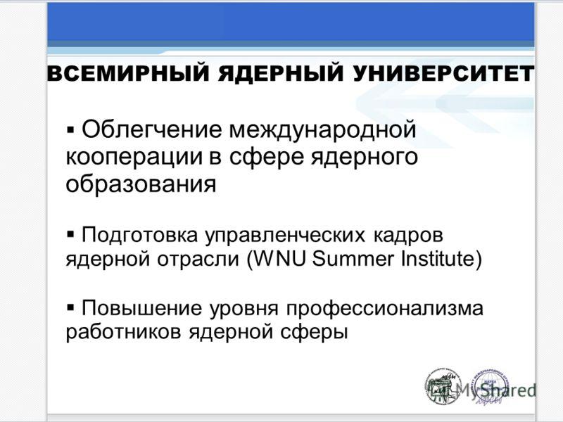 Облегчение международной кооперации в сфере ядерного образования Подготовка управленческих кадров ядерной отрасли (WNU Summer Institute) Повышение уровня профессионализма работников ядерной сферы ВСЕМИРНЫЙ ЯДЕРНЫЙ УНИВЕРСИТЕТ