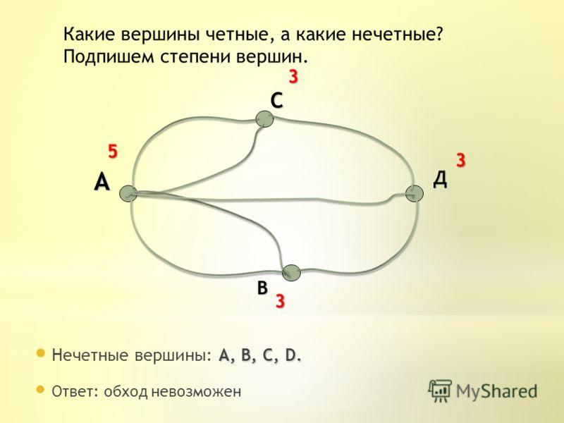 А, B, C, D. Нечетные вершины: А, B, C, D. А В С Д 3 3 3 5 Какие вершины четные, а какие нечетные? Подпишем степени вершин. Ответ: обход невозможен