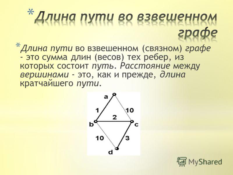 * Длина пути во взвешенном (связном) графе - это сумма длин (весов) тех ребер, из которых состоит путь. Расстояние между вершинами - это, как и прежде, длина кратчайшего пути.